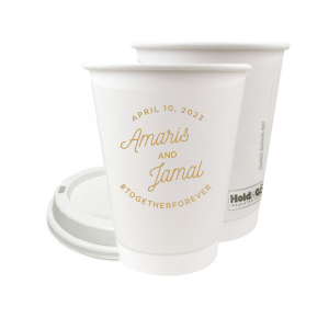 ForYourParty's chic Gold Ink 8 oz Paper Coffee Cup with Lid with Gold Ink Cup Ink Colors can be customized to complement every last detail of your party.