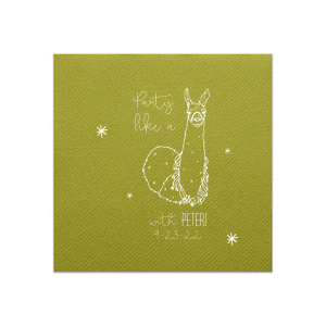 ForYourParty's elegant Moss Green Linen Like Cocktail Napkin with Matte White Foil has a Party Llama graphic and is good for use in Animals, Kid Birthday and Birthday themed parties and can be customized to complement every last detail of your party.