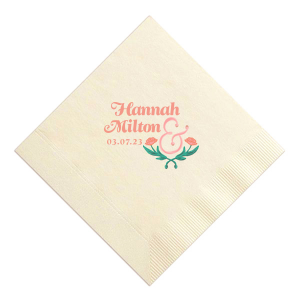 ForYourParty's elegant Ivory Photo/Full Color Cocktail Napkin with Matte Light Coral Ink Digital Print Colors will look fabulous with your unique touch. Your guests will agree!