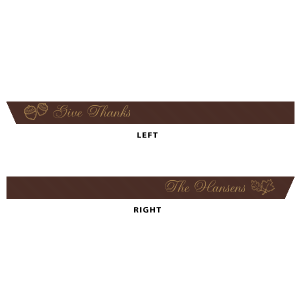"Our custom Espresso 5/8"" Satin Ribbon with Satin 18 Kt. Gold Foil Color has a Acorns graphic and a 2 Leaves graphic and is good for use in Floral themed parties and can be customized to complement every last detail of your party."