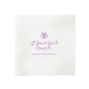Our custom Plum Cocktail Napkin with Matte White Foil has a Ghost 2 graphic and is good for use in Halloween themed parties and can't be beat. Showcase your style in every detail of your party's theme!