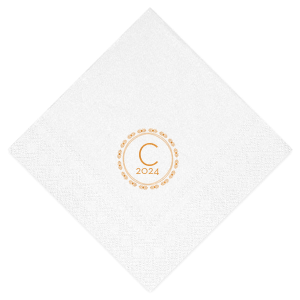 Our beautiful custom Crystal White Shimmer Cocktail Napkin with Shiny Copper Foil has a Diamond Wreath graphic and is good for use in Aztec, Indie, Wedding themed parties and will impress guests like no other. Make this party unforgettable.