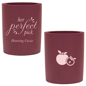 Personalized Burgundy Flat Can Cooler with Matte Blush Ink Cup Ink Colors has a Apple graphic and is good for use in Food themed parties and can't be beat. Showcase your style in every detail of your party's theme!