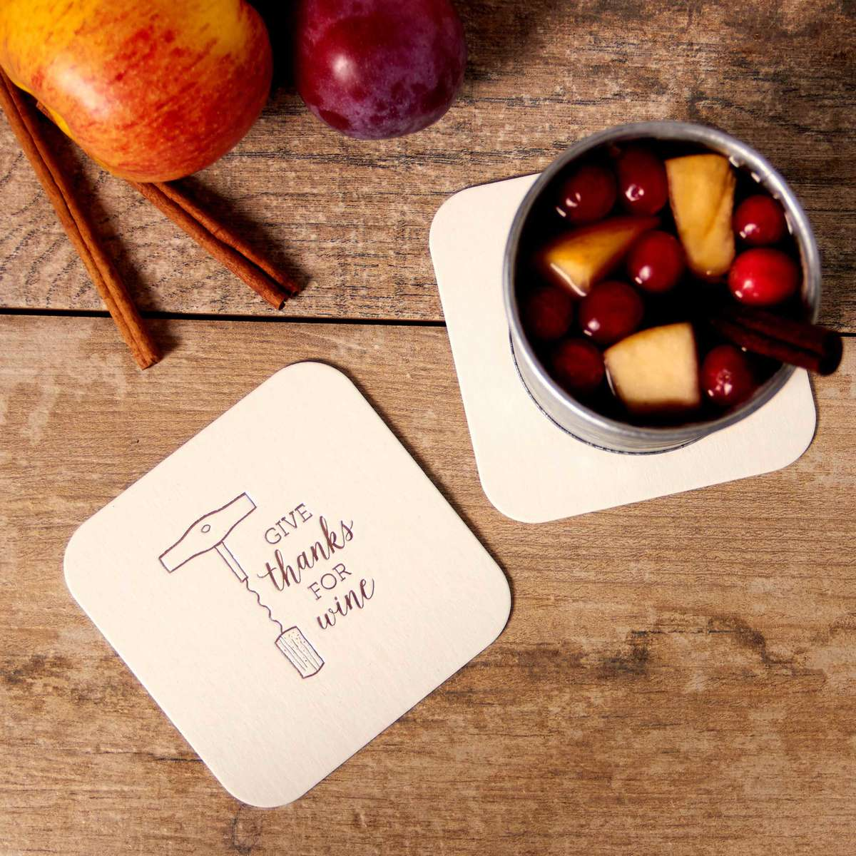 fall sangria with personalized coasters
