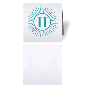 Our personalized Natural Frost White Gift Enclosure with Matte Teal/Peacock Foil has a sunburst frame graphic and is good for use in any type of party. Showcase your style in every detail of your party's theme!