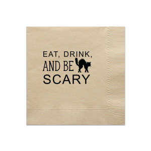 Our custom Sand Cocktail Napkin with Matte Black Foil has a Black Cat graphic and is good for use in Animals, Halloween themed parties and will make your guests swoon. Personalize your party's theme today.