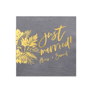 Our custom Slate Cocktail Napkins with Bleed with Shiny 18 Kt Gold Foil has a Full Bleed Tropical Leaves graphic and is good for use in Full Bleed themed parties and will make your guests swoon. Personalize your party's theme today.