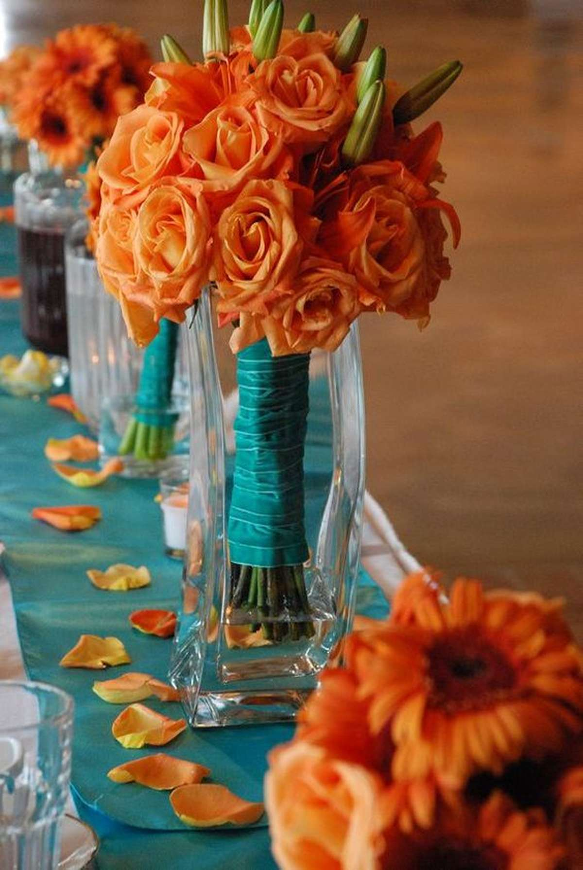 bright fall flowers with orange and teal