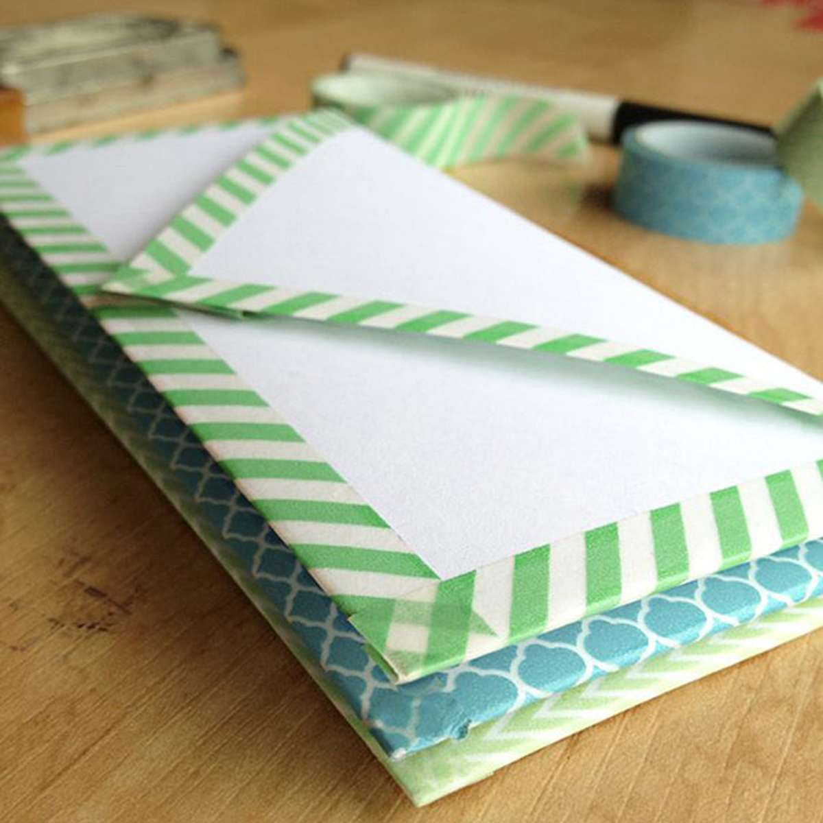 diy envelope decoration with washi tape