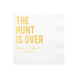 ForYourParty's Elegant White Cocktail Napkin with Shiny 18 Kt Gold Imprint Foil Color can be customized to compliment every last detail of your party.