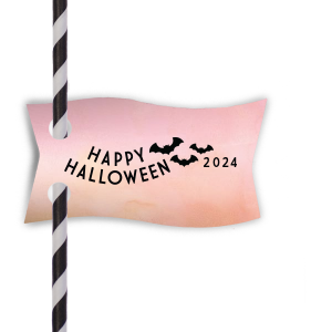 Bat Halloween Straw Tag