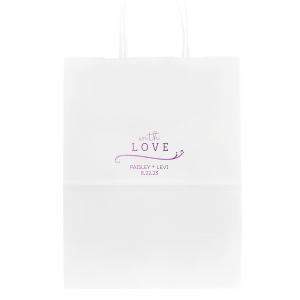 Our personalized White Party Bag with Shiny Amethyst Foil has a Fancy Flourish graphic and is good for use in Love and Wedding themed parties and will look fabulous with your unique touch. Your guests will agree!