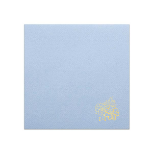 Personalized Powder Blue Linen Like Cocktail Napkin with Shiny 18 Kt Gold Foil has a Succulent Trio graphic and is good for use in Floral, Southwestern and Trendy themed parties and can be personalized to match your party's exact theme and tempo.