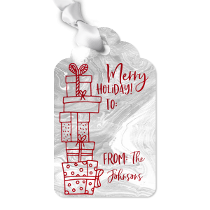 Our personalized Marble Gray Luggage Gift Tag with Shiny Convertible Red Foil has a Present Pile graphic and is good for use in Holiday, Christmas, Kid Birthday themed parties and will make your guests swoon. Personalize your party's theme today.