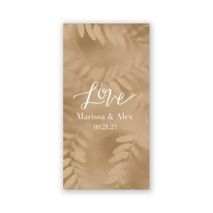 The ever-popular Leaf Sand Party Pocket with Matte White Foil has a Love graphic and is good for use in Words, Hearts, Wedding themed parties and will make your guests swoon. Personalize your party's theme today.