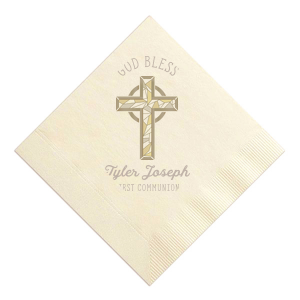 Personalized Ivory Photo/Full Color Cocktail Napkin with Matte Taupe Ink Digital Print Colors will make your guests swoon. Personalize your party's theme today.