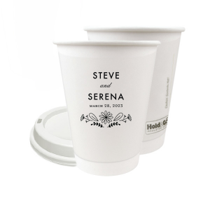 The ever-popular 12 oz Paper Coffee Cup with Matte Black Ink Screen Print has a Sunflower Bouquet Centerpiece graphic is good for use in Wedding, Anniversary and floral themed parties and will impress guests like no other. Make this party unforgettable.