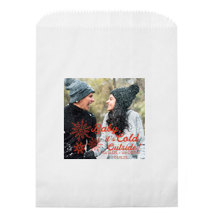 ForYourParty's elegant Kraft Brown Photo/Full Color Party Bag with Matte Lipstick Red Ink Digital Print Colors has a Snowflake Cluster graphic and is good for use in Winter and Wedding themed parties and couldn't be more perfect. It's time to show off your impeccable taste.
