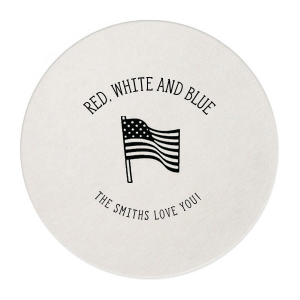 Our personalized Eggshell Scallop Coaster with Shiny Royal Blue Foil has a Flag graphic and is good for use in Holiday, Patriotic themed parties and will give your party the personalized touch every host desires.