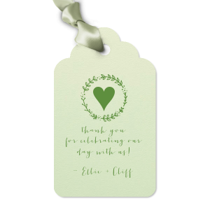 Say thank you with a wedding favor tied with love and personalization! These Mint tags with our Leaf Wreath graphic in Matte Moss foil are perfect for a greenery or woodland theme.