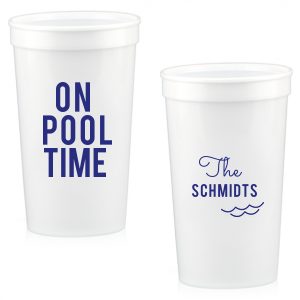 Our beautiful custom White 16 oz Stadium Cup with Matte Cobalt Ink Cup Ink Colors has a Wave Accent graphic and is good for use in Travel, Beach/Nautical, Father's Day themed parties and will impress guests like no other. Make this party unforgettable.