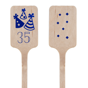 Bring the party to the details with these personalized stir sticks! Celebrate another birthday and customize our Party Hats design and diamond confetti with your age and foil color of your choice. Make the bar and every drink a hit, or use as a mini kebob stick.
