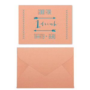The ever-popular Poptone Peach Tempo Place Card with Envelope with Satin Teal / Peacock Foil has a Arrow Frame 1 graphic and is good for use in Accents, Frames themed parties and can be personalized to match your party's exact theme and tempo.