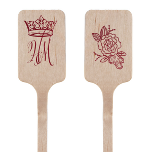 ForYourParty's personalized Shiny Merlot Rectangle Stir Stick with Shiny Merlot Foil has a Crown graphic and a Peony Accent graphic and is good for use in Royal, Formal and Wedding parties and are a must-have for your next event—whatever the celebration!