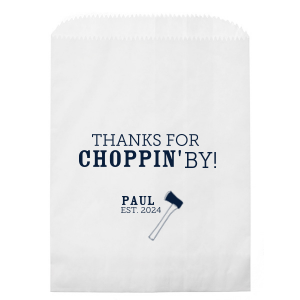 ForYourParty's elegant White Party Bag with Matte Navy Foil has a Axe graphic and is good for use in Travel, Trendy, Plaid, Lumber Jack themed parties and will add that special attention to detail that cannot be overlooked.