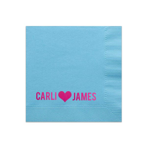 Our custom Turquoise Cocktail Napkin with Shiny Fuchsia Foil has a Heart Solid graphic and is good for use in Wedding themed parties and will add that special attention to detail that cannot be overlooked.
