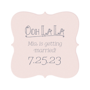 Personalized Blush with Kraft back Nouveau Coaster with Matte Navy Foil Color has a Ooh La La graphic and is good for use in Words themed parties and can't be beat. Showcase your style in every detail of your party's theme!