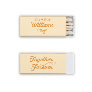 Custom Natural Ivory Classic Matchbox with Shiny 18 Kt Gold Foil will add that special attention to detail that cannot be overlooked.