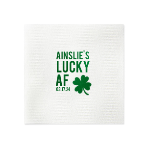Custom Lime Cocktail Napkin with Shiny Leaf Foil has a Four Leaf Clover graphic and is good for use in Holiday, St. Patricks Day themed parties and can be customized to complement every last detail of your party.