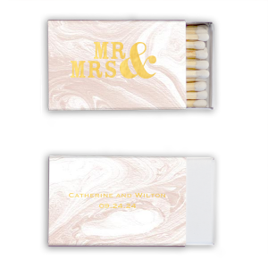 Our personalized Marble Blush Candle Matchbox with Shiny 18 Kt Gold Foil will make your guests swoon. Personalize your party's theme today.
