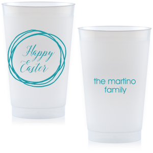 Our beautiful custom Yellow 12 oz Frost Flex Color Cup with Matte Teal/Peacock Ink Cup Ink Colors has a Circle Doodle Frame graphic and is good for use in Easter, Spring and Casual parties and will look fabulous with your unique touch. Your guests will agree!