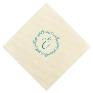 Our custom Ivory Guest Towel with Satin Teal / Peacock Foil has a Rustic Wreath graphic and is good for use in Frames, Wedding, Anniversary themed parties and will impress guests like no other. Make this party unforgettable.