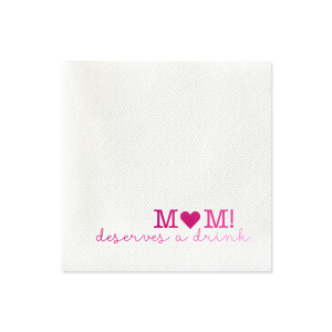 Our personalized Peach Linen Like Cocktail Napkin with Matte White Foil has a Solid Heart graphic and is good for use in Mother's Day and Birthday themed parties and can be customized to complement every last detail of your party.