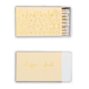 Our custom Natural Ivory Classic Matchbox with Shiny 18 Kt Gold Foil has a Garden Pattern graphic and is good for use in Floral, Garden, Organic themed parties and will give your party the personalized touch every host desires.