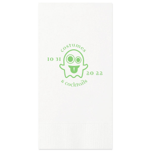 Customize this funky ghost for a fun detail at your Halloween party. Stick with the Black napkin and Matte Key Lime, or choose colors to match your theme. Add the date of your party for a personal touch your guests will love.