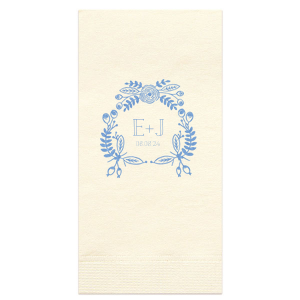The ever-popular White Cocktail Napkin with Satin French Blue Foil Color has a Rustic Floral Frame graphic and is good for use in Frames themed parties and will add that special attention to detail that cannot be overlooked.