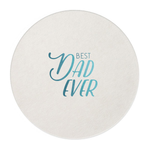 Our personalized Eggshell Round Coaster with Shiny Turquoise Foil can be personalized to match your party's exact theme and tempo.