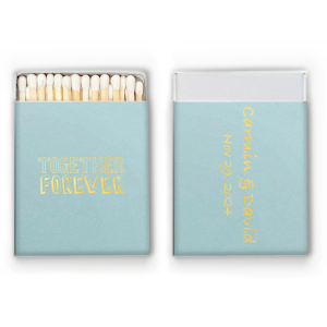 Customize these Sky Blue matchboxes with the bride and groom's names for a stellar personalized wedding favor guests will adore. With every use, they'll remember just who is together forever!