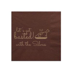 Our beautiful custom Brown Linen Like Cocktail Napkin with Shiny Champagne Foil has a Plated Turkey graphic and is good for use in Food, Thanksgiving themed parties and can be personalized to match your party's exact theme and tempo.
