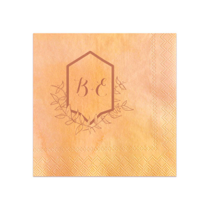 Personalize this leafy Crest frame for a gorgeous detail on your bar. Stick with the watercolor Sunrise napkin and Copper foil for a summery natural look, or choose colors to match your theme. Add your initials for a personal touch fitting for a wedding, rehearsal dinner, engagement party and more.
