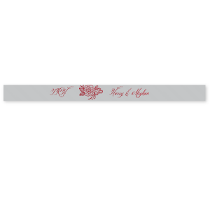 "Our custom Sterling Silver 7/8"" Satin Ribbon with Shiny Merlot Foil has a Peony Accent graphic and is good for use in Floral and Royal type parties, especially weddings and can be personalized to match your party's exact theme and tempo."