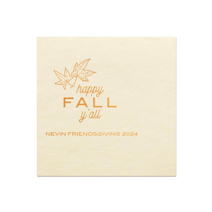 Custom Merlot Dinner Napkin with Shiny Copper Imprint Color has a Two Leaves graphic and is good for use in Floral, Thanksgiving themed parties and will give your party the personalized touch every host desires.