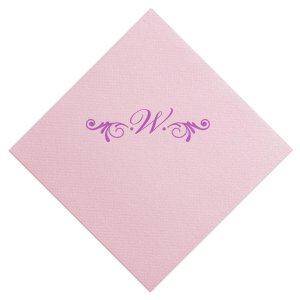 ForYourParty's personalized Ballet Pink Cocktail Napkin with Satin Plum Foil Color has a Decorative Flourish graphic and is good for use in Accents themed parties and are a must-have for your next event—whatever the celebration!