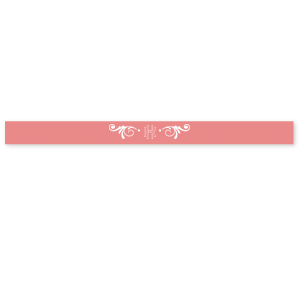 "Our custom Coral 5/8"" Satin Ribbon with Matte White Foil has a Decorative Flourish graphic and is good for use in Wedding themed parties and can be personalized to match your party's exact theme and tempo."