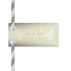 Say cheers to the new couple with these personalized straw tags! The Mint paper, Copper foil and modern block letters will make a lush accent to the bar of your greenery themed bridal shower, engagement party or wedding.