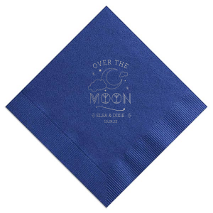 Personalized Light Navy Cocktail Napkin with Shiny Sterling Silver Foil has a Night Sky graphic and is good for use in Baby Shower, Weddings and other celebrations and will make your guests swoon. Personalize your party's theme today.